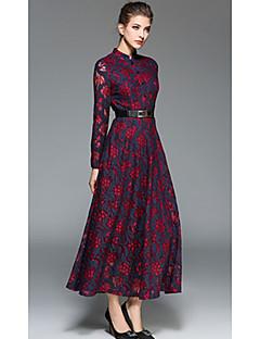 Feminino balanço Vestido, Para Noite Temática Asiática Sofisticado Geométrica Estampado Gola Alta Longo Manga Longa VermelhoSeda Acrílico
