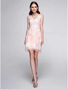 Sheath / Column V-neck Short / Mini Organza Bridesmaid Dress with Appliques by LAN TING BRIDE®