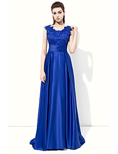 Formal Evening Dress - Elegant A-line Jewel Floor-length Stretch Satin with Appliques Beading