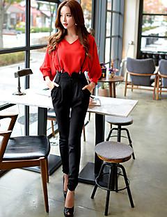 Damen Schlank Chinos Overall Hose-Ausgehen Lässig/Alltäglich Arbeit Vintage Niedlich Street Schick einfarbig Hohe Hüfthöhe Reisverschluss