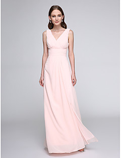 LAN TING BRIDE Boden-Länge V-Ausschnitt Brautjungfernkleid - Elegant Ohne Ärmel Chiffon