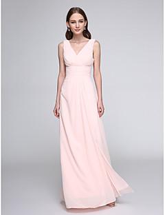 LAN TING BRIDE עד הריצפה צווארון וי שמלה לשושבינה - אלגנטי ללא שרוולים שיפון