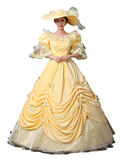 תחפושות קוספליי נסיכות אֵלָה חליפות סנטה פסטיבל/חג תחפושות ליל כל הקדושים צהוב אחיד שמלה האלווין (ליל כל הקדושים) חג המולד קרנבל ראש השנה