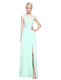 2017 Lanting Bride® Floor-length Chiffon Lace Furcal Bridesmaid Dress - A-line Bateau with Appliques Pleats