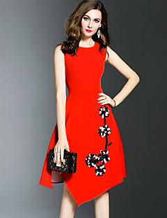 Dámské Sofistikované Jdeme ven Velké velikosti A Line Šaty Jednobarevné,Bez rukávů Kulatý Asymetrické Červená Černá Polyester LétoMid