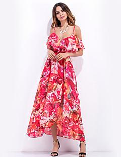 Ample Gaine Balançoire Robe Femme Plage Vacances Sortie Sexy Bohème Mignon,Fleur A Bretelles Maxi Sans Manches Rouge Violet Polyester