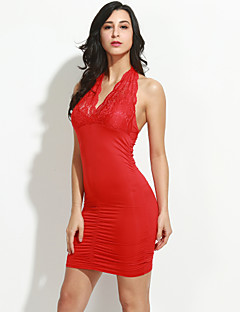 Dames Club Sexy Bodycon / Kant Jurk Effen-Halter Mini Mouwloos Rood / Zwart Polyester / Spandex / Overige Zomer Medium taille