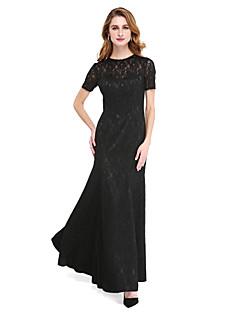 Lanting Bride® Linha A Vestido Para Mãe dos Noivos - Vestidinho Preto Longo Manga Curta Renda  -  Miçangas