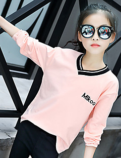 Girl's Fashion Going out Casual/Daily Holiday Solid Color Tee Spring/Fall Children Cotton Long Sleeve Shirt Blouse