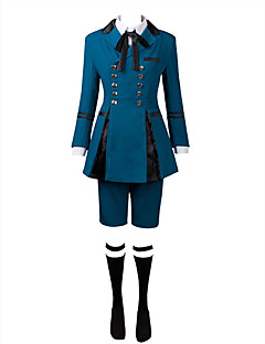 Inspired by Black Butler Ciel Phantomhive Anime Cosplay Costumes Cosplay Suits Solid Ink Blue Top Shorts Cravat Bow For Male