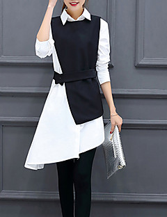 Women's Going out Work Party/Cocktail Sexy Street chic Sophisticated All Seasons Shirt,Solid Shirt Collar Long Sleeve Blue Black Others