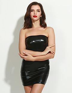 Női Ultra szexi Hálóruha,Sexy Egyszínű-Közepes Lakkbőr Poliészter Szürke