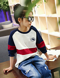 Girl's Cotton Fashion Going out Casual/Daily Holiday Stripes Patchwork Tee Spring/Fall Children Long Sleeve Cartoon Shirt Blouse