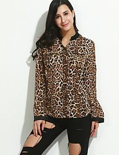 Mulheres Camisa Casual Simples Todas as Estações,Leopardo Marrom Decote em V Profundo Manga Longa Média