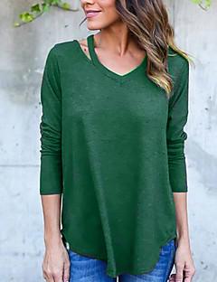 Feminino Camiseta Para Noite Casual Sensual Simples Primavera Outono,Sólido Preto Verde Poliéster Assimétrico Manga Longa Média
