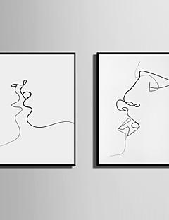 Abstrakt Menschen Gerahmtes Leinenbild Gerahmtes Set Wandkunst,PVC Stoff Schwarz Kein Passpartout Mit Feld For Haus Dekoration Rand Kunst