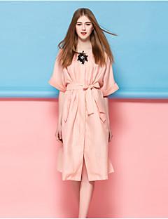 Kadın Dışarı Çıkma Günlük/Sade Sade Kombinezon Elbise Solid,½ Kol Uzunluğu Yuvarlak Yaka Diz-boyu Mavi Pembe İpek Polyester NaylonBahar