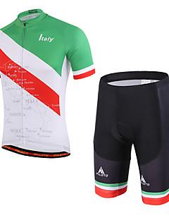 Miloto שרוול קצר חולצת ג'רסי ומכנס קצר לרכיבה יוניסקס אופניים שורטים (מכנסיים קצרים) מרופדים מדים בסטיםנושם ייבוש מהיר דחיסה חומרים קלים