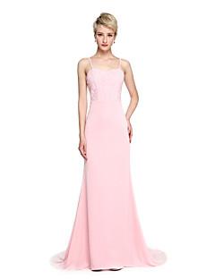 LAN TING BRIDE Cauda Corte Com Alças Finas Vestido de Madrinha - Elegante Sem Mangas Microfibra Jersey