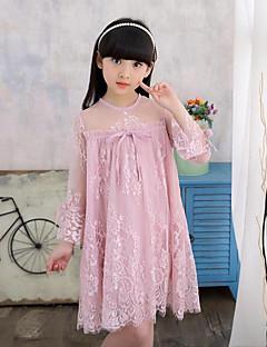 Menina de Vestido Cor Única Floral Primavera Outono Algodão Poliéster Manga Longa
