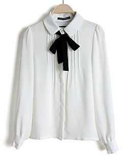 Women's Going out Casual/Daily Simple Spring Blouse,Solid Shirt Collar Long Sleeve White Polyester