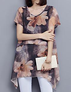 Mujer Vintage Simple Sofisticado Casual/Diario Trabajo Tallas Grandes Verano Blusa,Escote Redondo A Cuadros Manga Corta PoliésterAzul