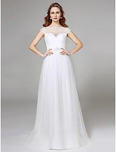 LAN TING BRIDE A-라인 웨딩 드레스 어깨 노출 스타일 스윕 / 브러쉬 트레인 보트넥 튤 와 비즈 레이스