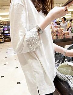 vinter nya koreanska version av vitt sequined manschetter lösa stora gårdar långärmad långt avsnitt av bambu bomull T-shirt bottna shirt