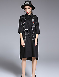 FRMZ Women's Casual/Daily Cute Loose DressPrint Notch Lapel Midi  Sleeve White Black Polyester Spring Summer Mid Rise Inelastic Medium