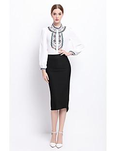 YZXH Women's Work Boho Street chic Spring Fall ShirtFloral Round Neck Long Sleeve White Black Silk Medium
