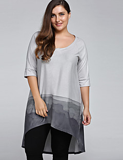 Women's Casual/Daily Vintage Simple All Seasons Plus Size Loose T-shirt Color Block U Neck  Length Sleeve Gray Cotton Nylon
