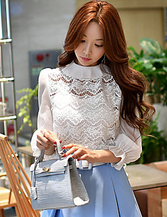 Women's Going out Casual/Daily Holiday Cute Street chic Sophisticated Spring Fall Two Pieces ShirtSolid Crew Neck  Sleeve White Polyester