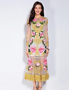 Damen Hülle Kleid-Ausgehen Niedlich Blumen Rundhalsausschnitt Midi Langarm Gelb Polyester Frühling Sommer Mittlere Hüfthöhe Unelastisch