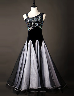 Devemos vestidos de dança de salão vestido de organza de performance feminina