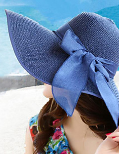 Női nyári összehajtható szalmakalap széles karimájú bowknot divatos kalapok