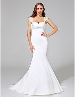 LAN TING BRIDE Trumpet / Mermaid Wedding Dress - Classic & Timeless Open Back Court Train Straps Satin with Beading Criss-Cross