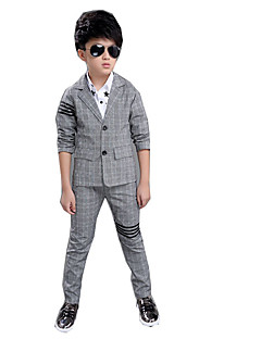 Dreng Indstiller Afslappet/Hverdag Ensfarvet,Bomuld Rayon Sommer Forår Langærmet Tøjsæt