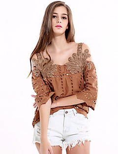 Women's Off The Shoulder Going out Casual/Daily Vintage Spring Summer Blouse,Solid Boat Neck Sleeveless Brown Polyester Medium