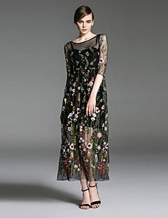 여성 루즈핏 드레스 데이트 캐쥬얼/데일리 휴일 심플 플로럴,라운드 넥 맥시 ¾ 소매 블랙 그레이 면 폴리에스테르 봄 여름 높은 밑위 약간의 신축성 중간