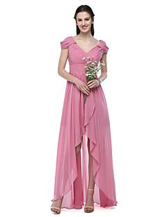Lanting Bride® א-סימטרי שיפון אלגנטי שמלה לשושבינה  - גזרת A צווארון וי עם סרט קפלים