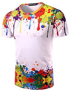 男性 お出かけ カジュアル/普段着 ビーチ Tシャツ,シンプル ラウンドネック プリント マルチカラー コットン 半袖