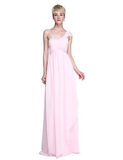 LAN TING BRIDE Na zem Jedno rameno Šaty pro družičky - Elegantní Bez rukávů Šifón