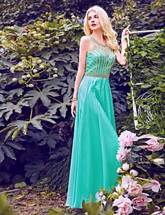 Formal Evening Dress - Sparkle & Shine Sheath / Column Halter Floor-length Chiffon with Beading