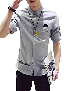 メンズ カジュアル/普段着 フォーマル プラスサイズ 夏 シャツ,ヴィンテージ シンプル ストリートファッション シャツカラー ソリッド ブルー レッド ホワイト ブラック グレイ コットン ポリエステル 半袖 ミディアム