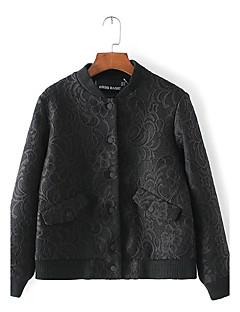 Damen Solide Einfach Ausgehen Jacke,Frühling Ständer Langarm Bügeln Standard Baumwolle