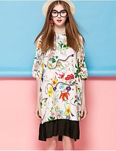 Kadın Dışarı Çıkma Sevimli Kombinezon Elbise Çiçekli,½ Kol Uzunluğu Yuvarlak Yaka Diz üstü Beyaz Siyah İpek Bahar Yaz Normal Bel