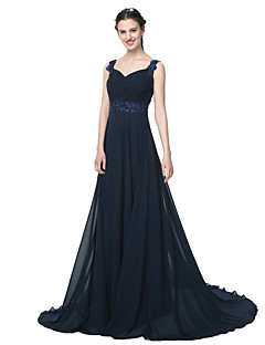 A-Line Straps Floor Length Chiffon Bridesmaid Dress with Beading Appliques Pleats by LAN TING BRIDE®