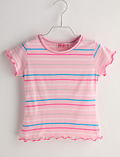 Baby Casual/Daily Striped Tee-Cotton-Summer-Pink