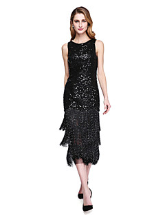 Sheath / Column Jewel Neck Tea Length Sequined Mother of the Bride Dress with Sequins Tassel(s) by LAN TING BRIDE®