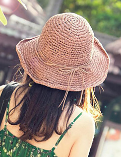 Women Straw Hat Sun Hat Beach Hat Cute Candy Color Bowknot Casual Summer